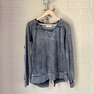 Ocean Drive NWT zip back distressed sweatshirt S